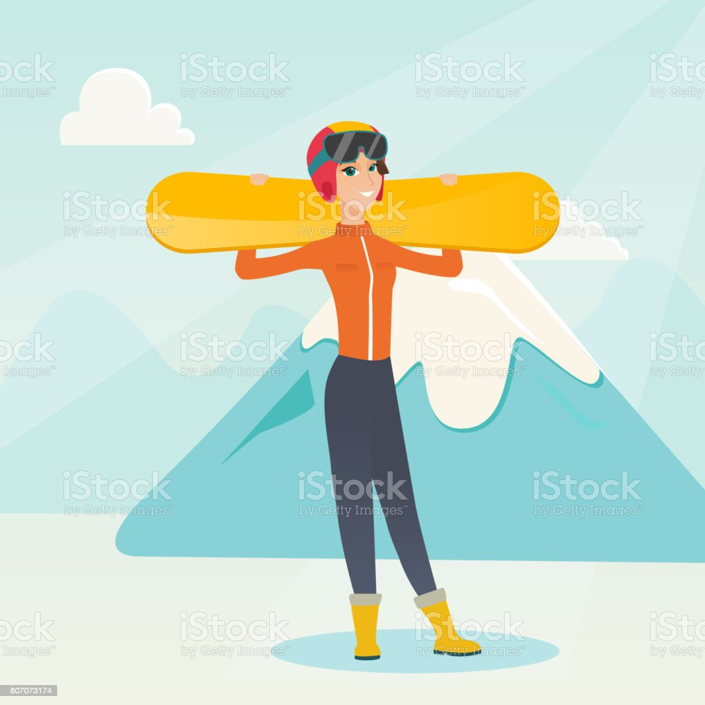Young caucasian sportswoman holding skis vector art illustration