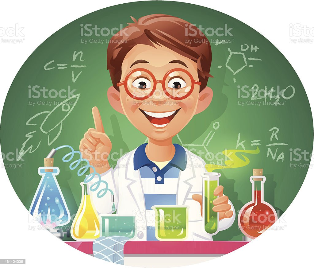 Young Chemist vector art illustration