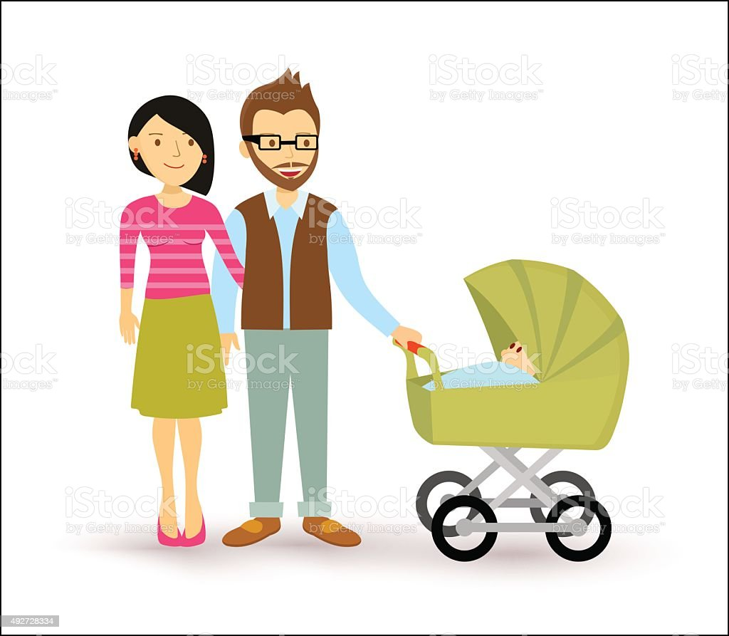 Young couple baby start family newborn people flat vector art illustration