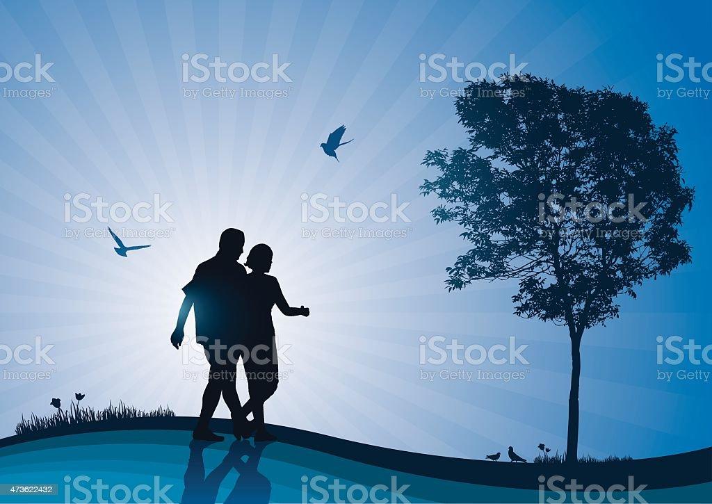 Young couple enjoying the sunrise vector art illustration