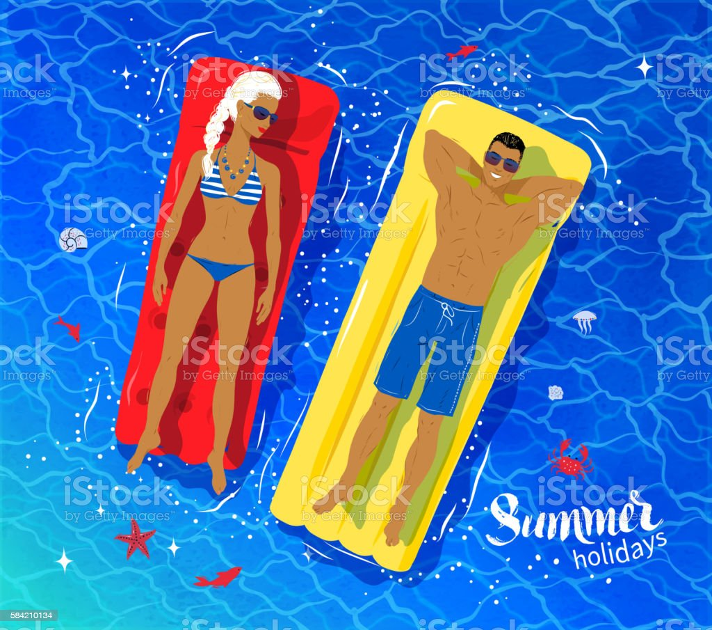Young couple floating on pooll vector art illustration
