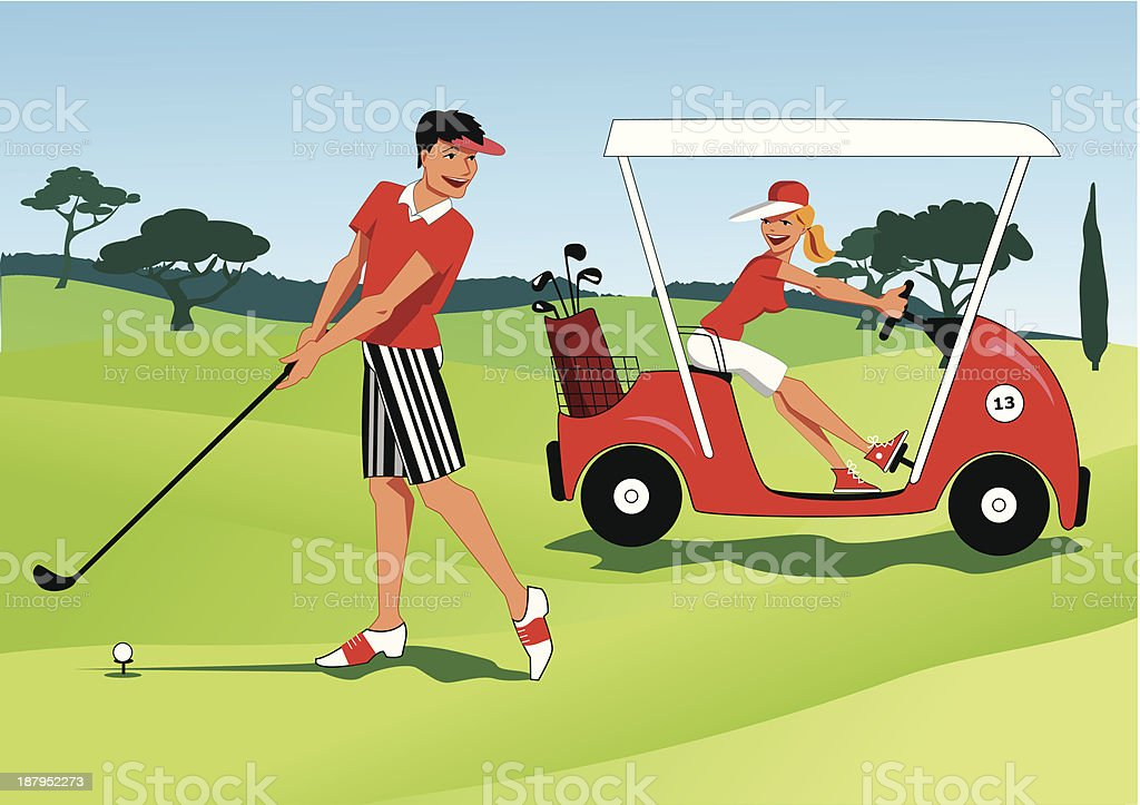 Young couple golfing vector art illustration