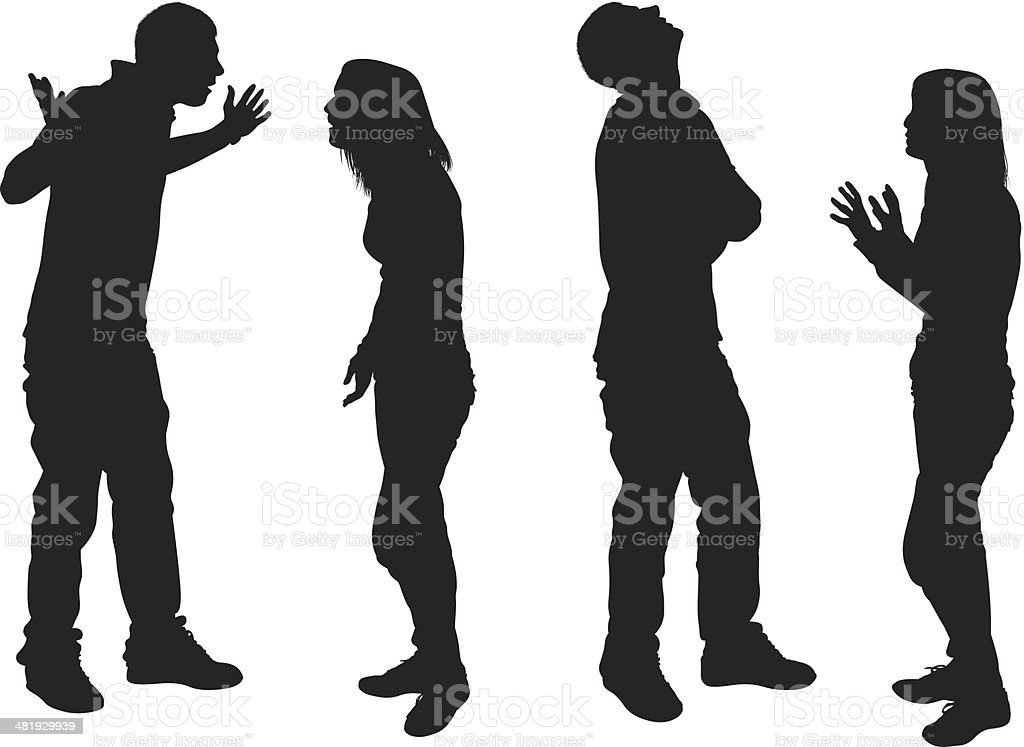 Young couple having an argument vector art illustration