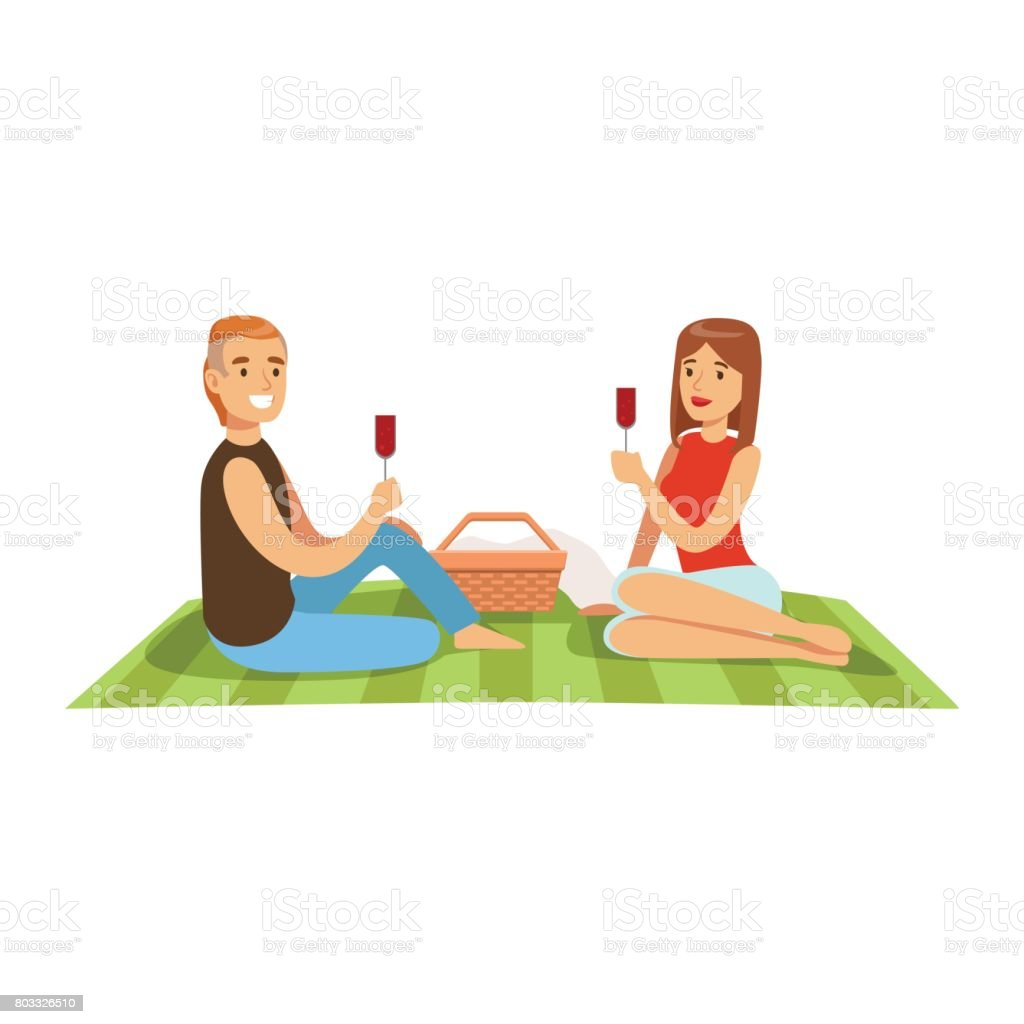 Young couple having picnic, man and woman characters in love sitting on a picnic plaid and drinking wine vector Illustration vector art illustration