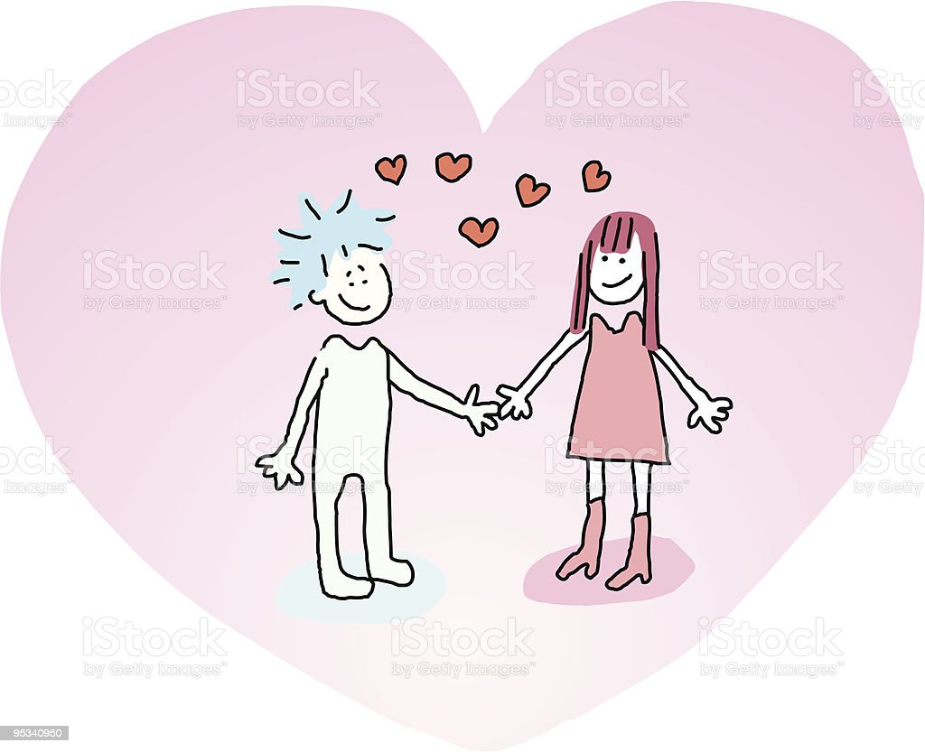 Young Couple holding hands royalty-free stock vector art