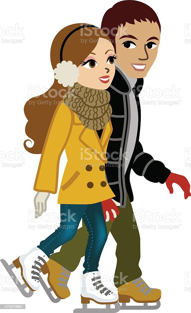 Young couple Ice Skating,isolated vector art illustration