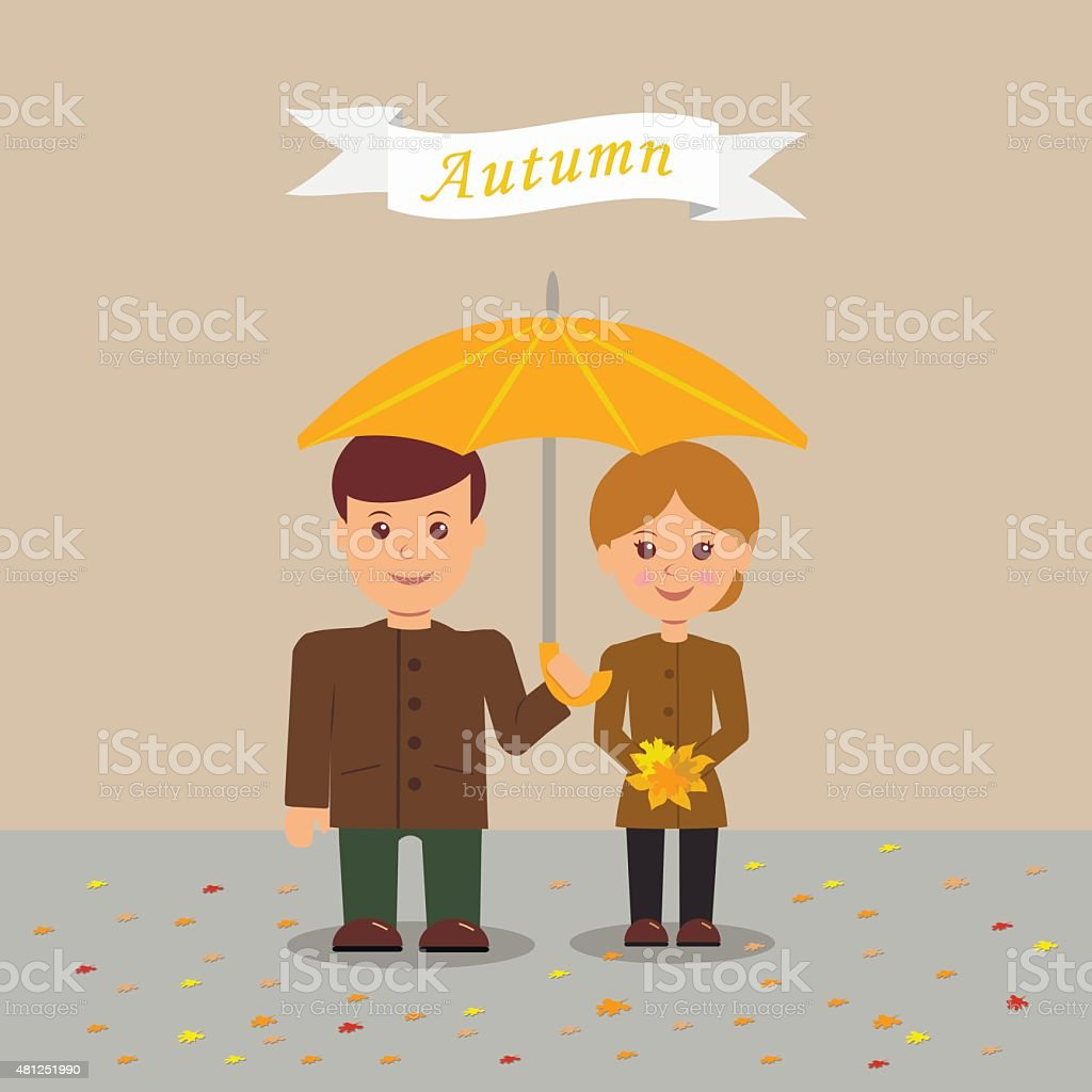 Young couple in autumn clothes. vector art illustration