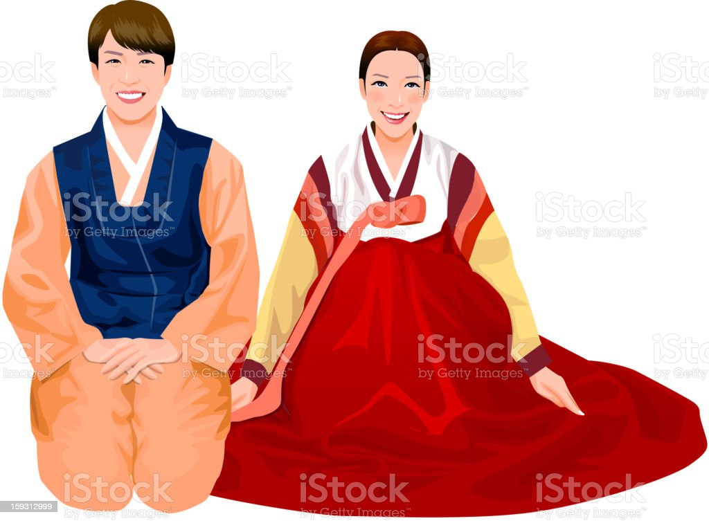 Young couple in Korean vector art illustration