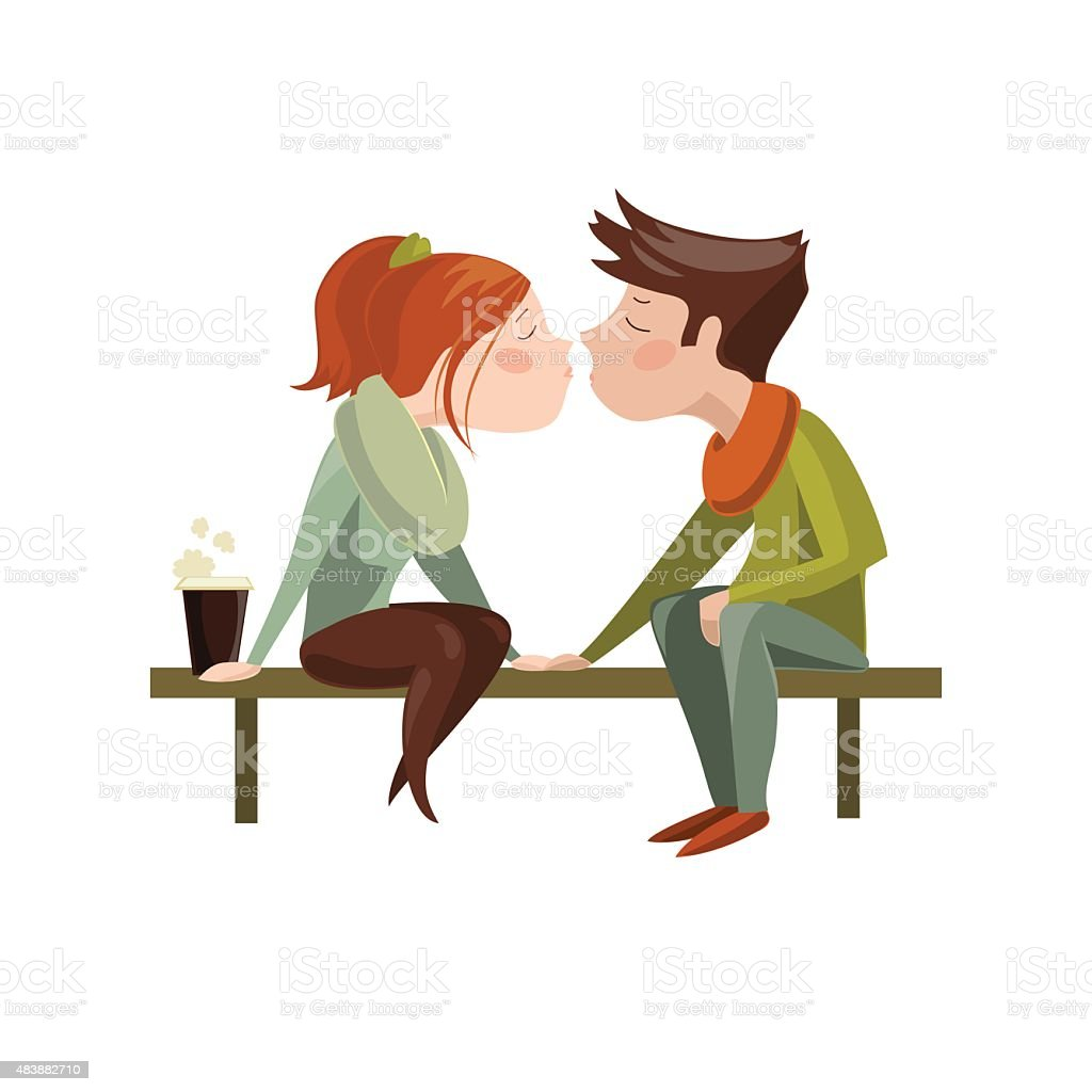 Young couple kissing on bench vector art illustration