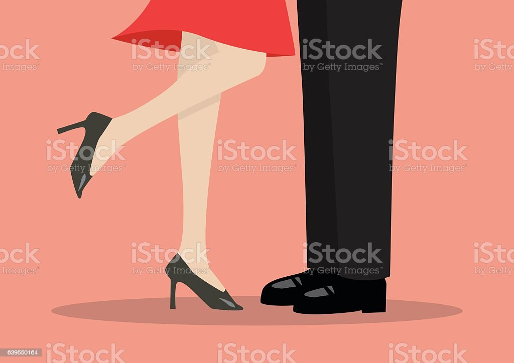 Young couple kissing vector art illustration