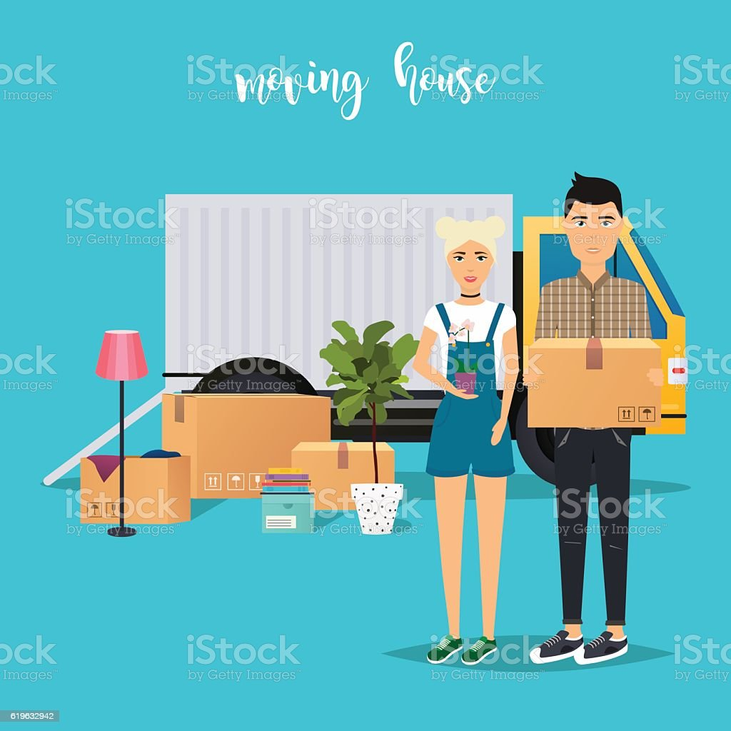 Young Couple Moving. Moving truck and cardboard boxes. Shipping vector art illustration