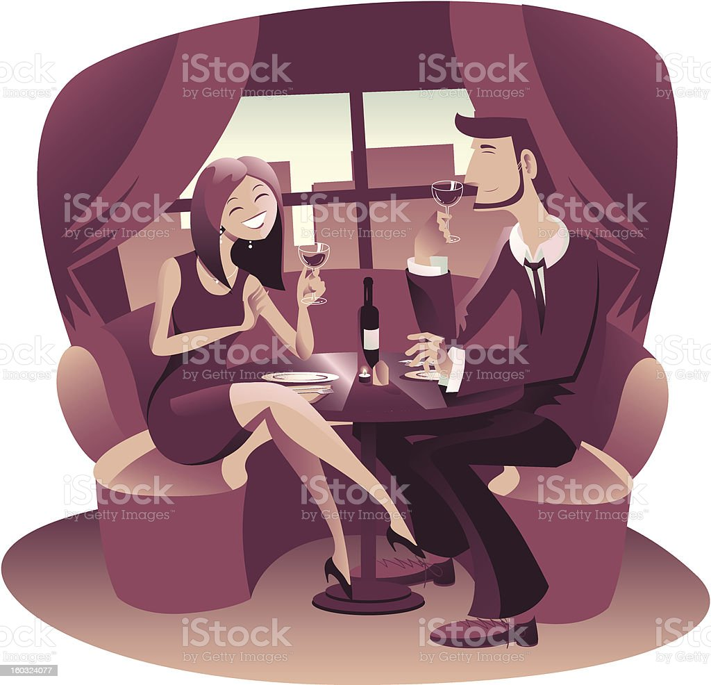 Young couple of lovers have a romantic dinner at restaurant stock photo