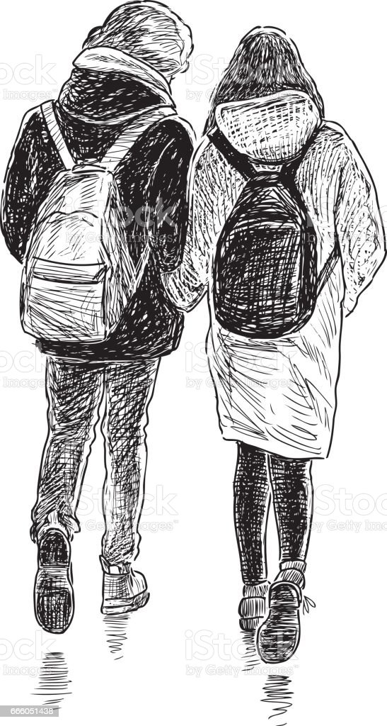 young couple on a stroll vector art illustration