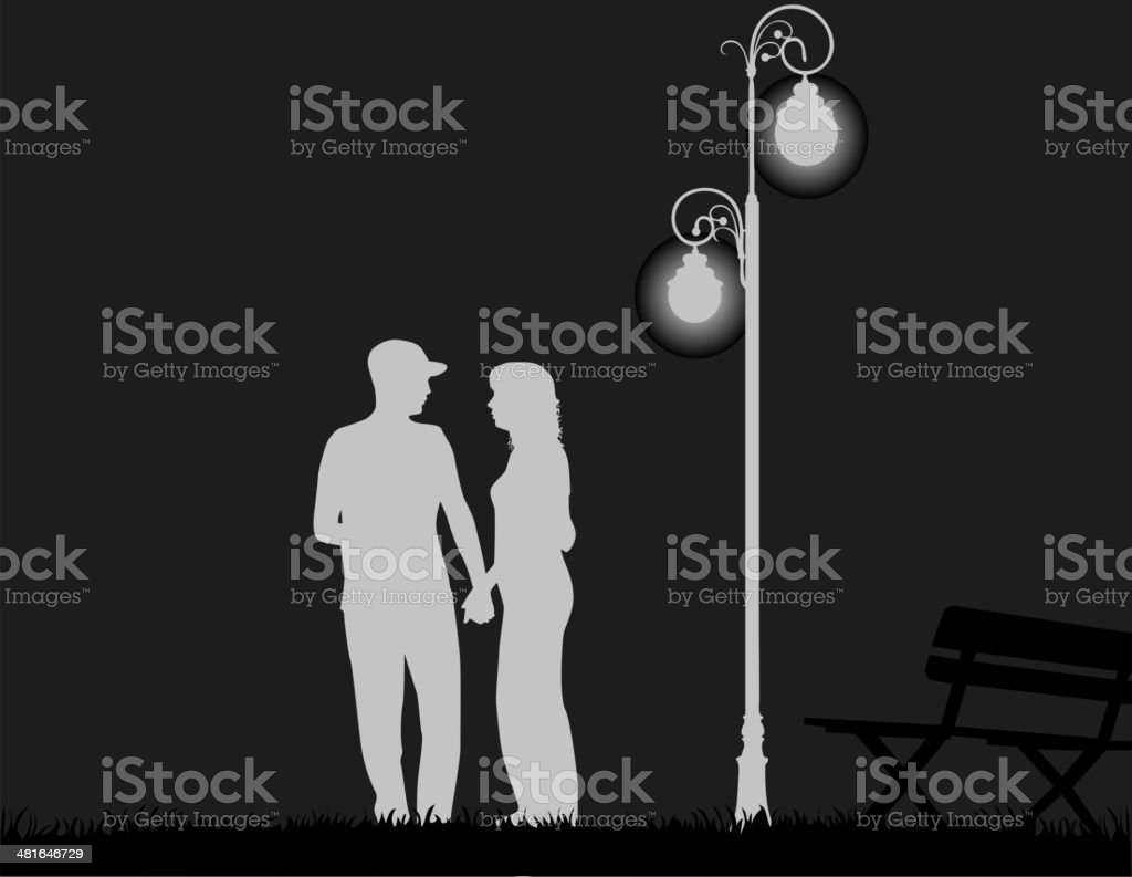 young couple on night vector art illustration