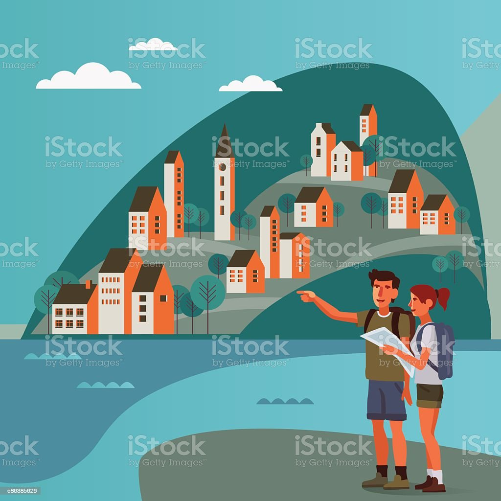 Young couple planning the route and looking at the map vector art illustration