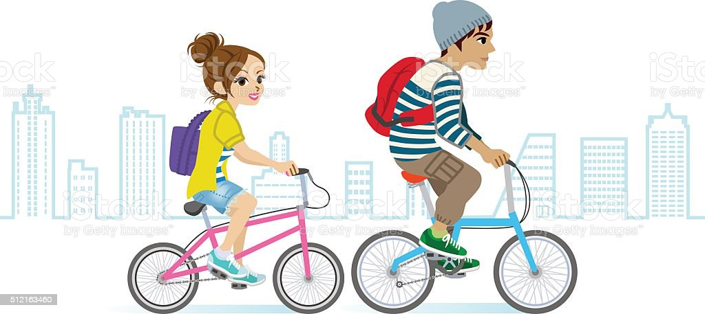 Young couple riding Bicycle, Cityscape vector art illustration