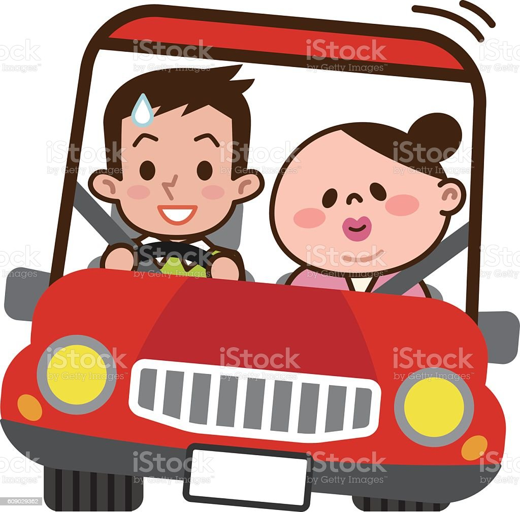 Young couple to drive Dating vector art illustration