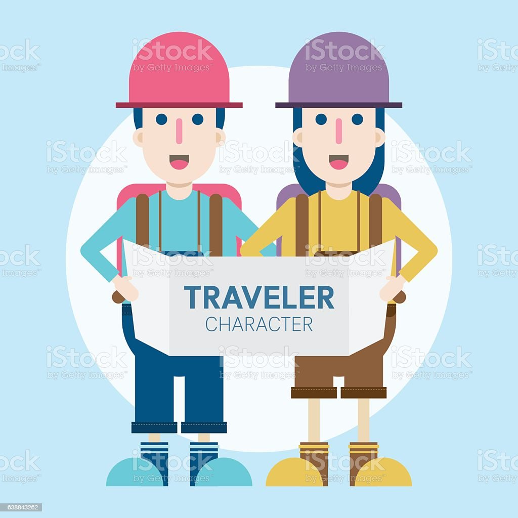 Young couple traveler with map. vector art illustration
