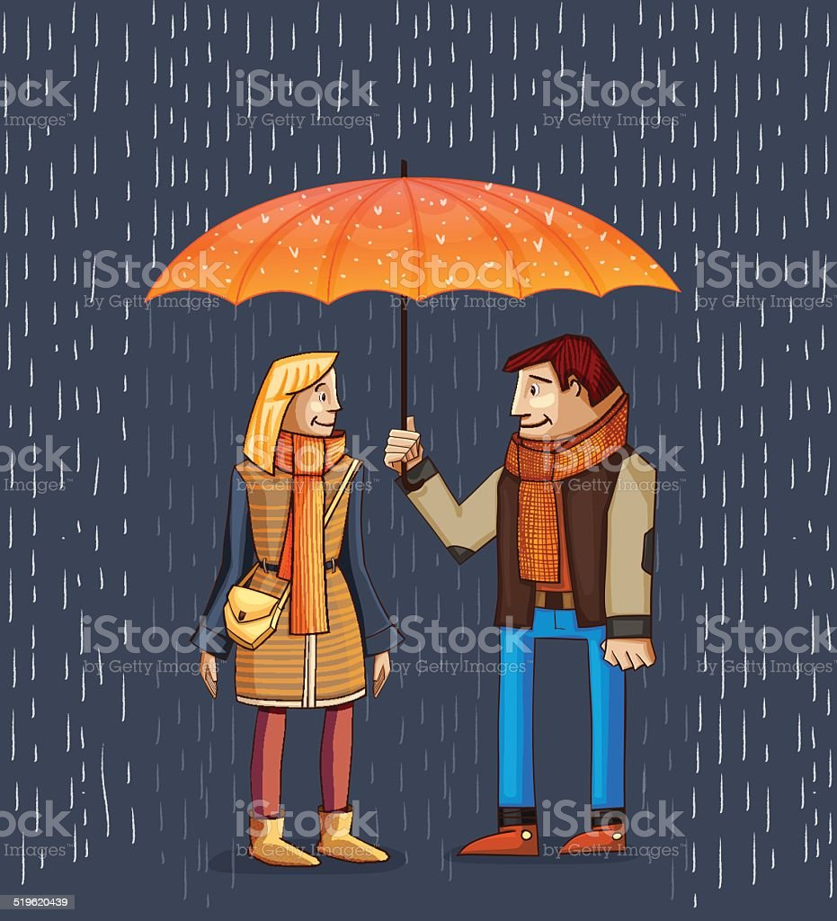 Young Couple under umbrella. Autumn. vector art illustration