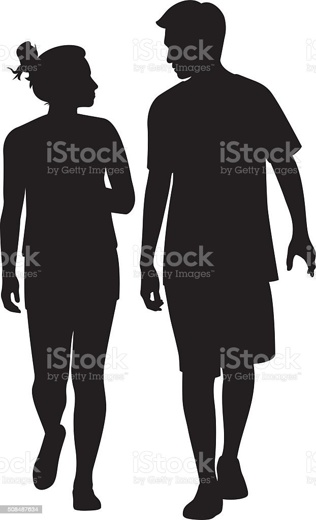 Young Couple Walking and Looking at Each Other Silhouette vector art illustration