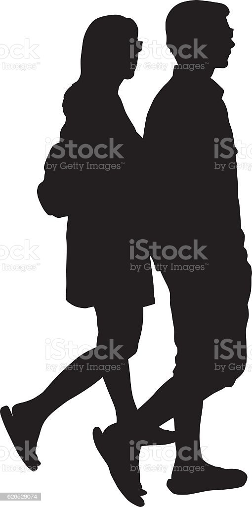 Young Couple Walking Silhouette vector art illustration
