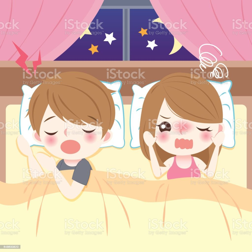 young couple with snore vector art illustration