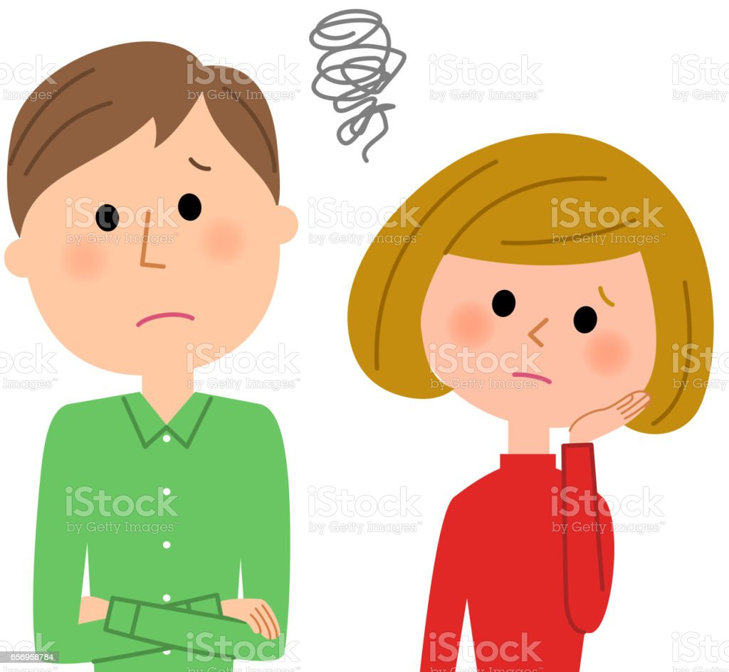 Young couple,Be worried vector art illustration