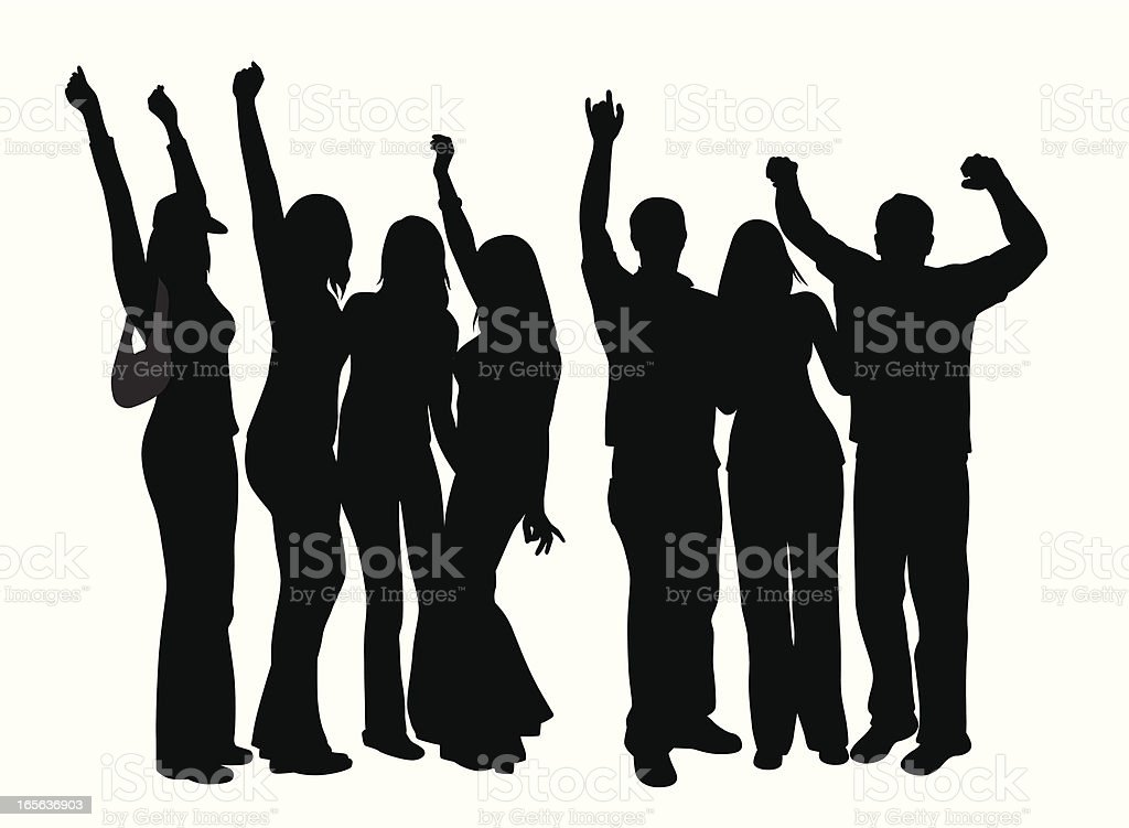 Young Crowd Cheering Vector Silhouette royalty-free stock vector art