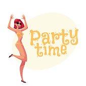 Young curvy woman with long black hair in bikini dancing