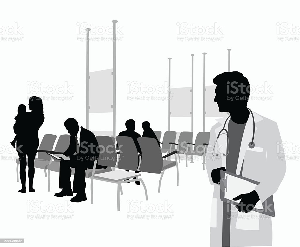 Young Doctor Waiting Room vector art illustration