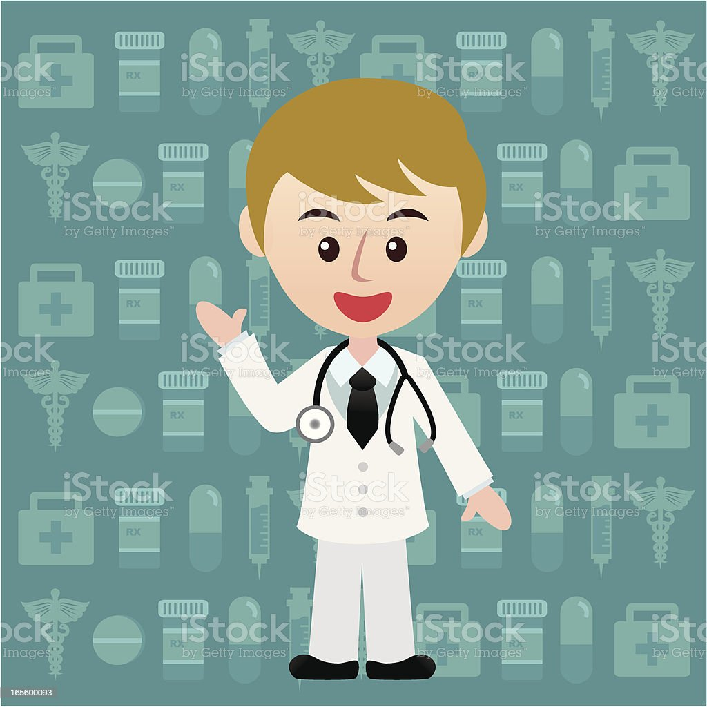 young doctor with medical wallpaper royalty-free stock vector art