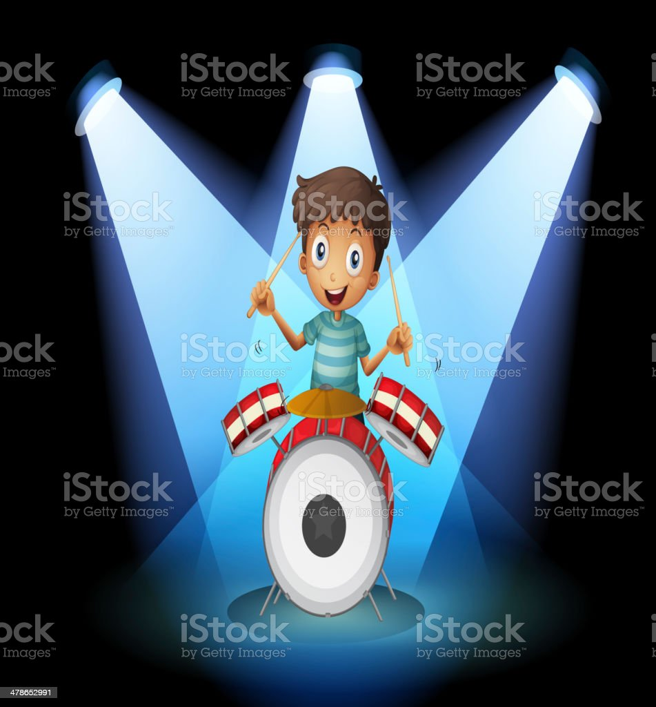 young drummer in the middle of stage royalty-free stock vector art