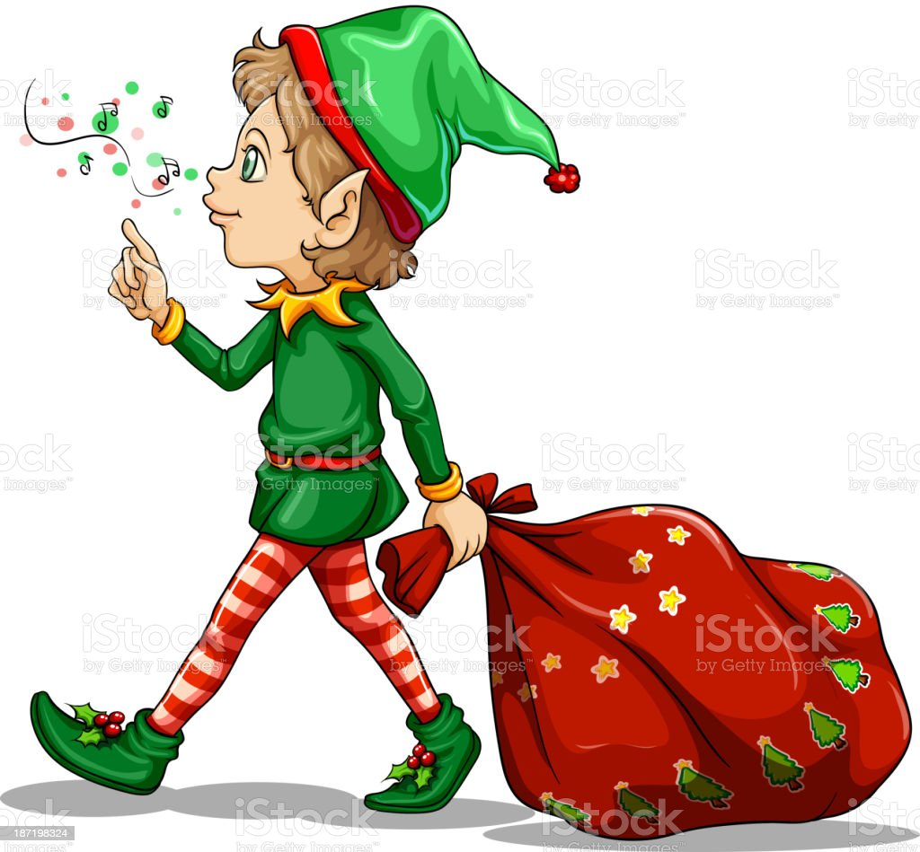 young elf dragging a sack of gifts royalty-free stock vector art