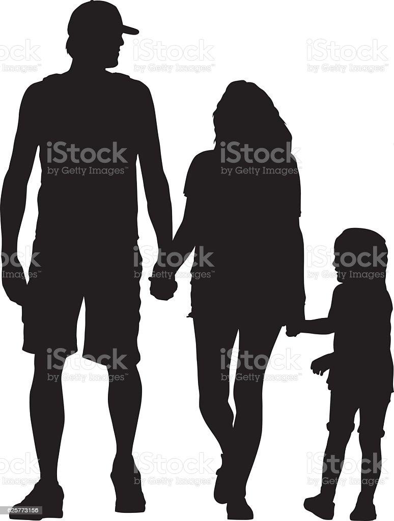 Young Famiiy Walking hand In Hand vector art illustration