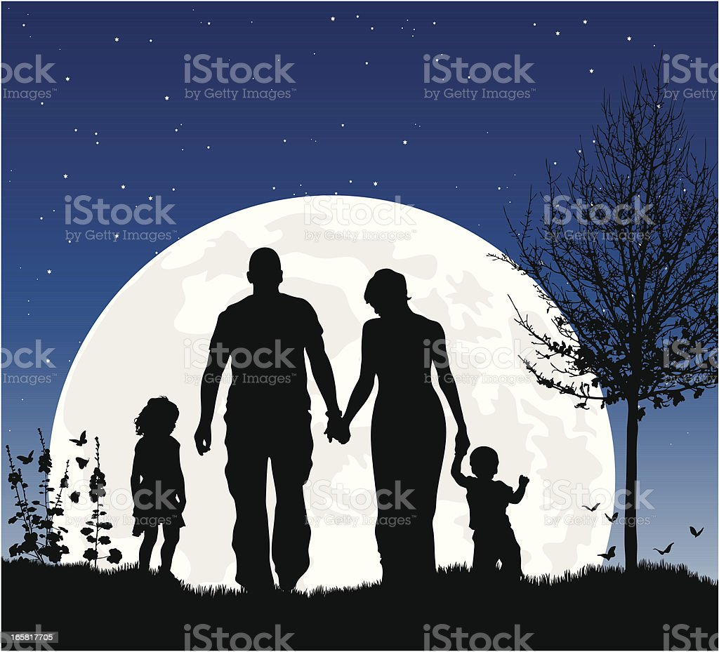 Young family at night in silhouette against the moon vector art illustration
