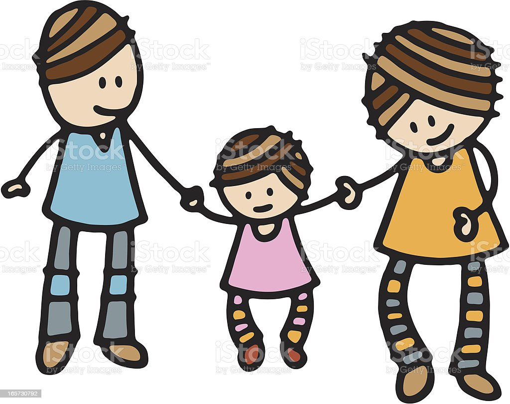 Young family holding hands royalty-free stock vector art