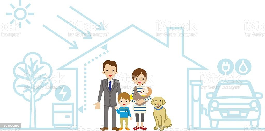 Young family in the Futuristic House - Baby and son vector art illustration