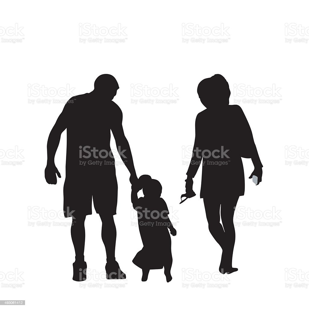 Young Family vector art illustration