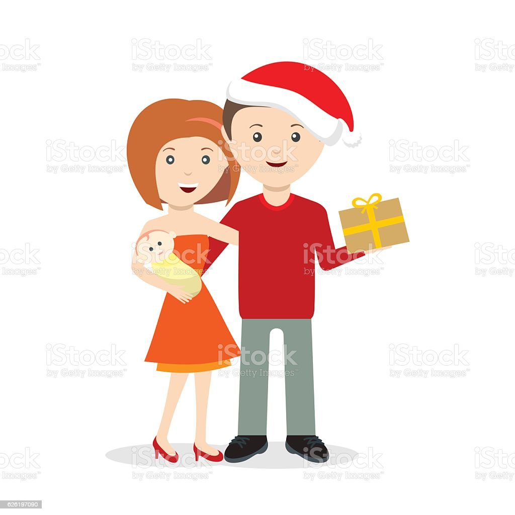 Young family with baby Christmas celebration vector art illustration