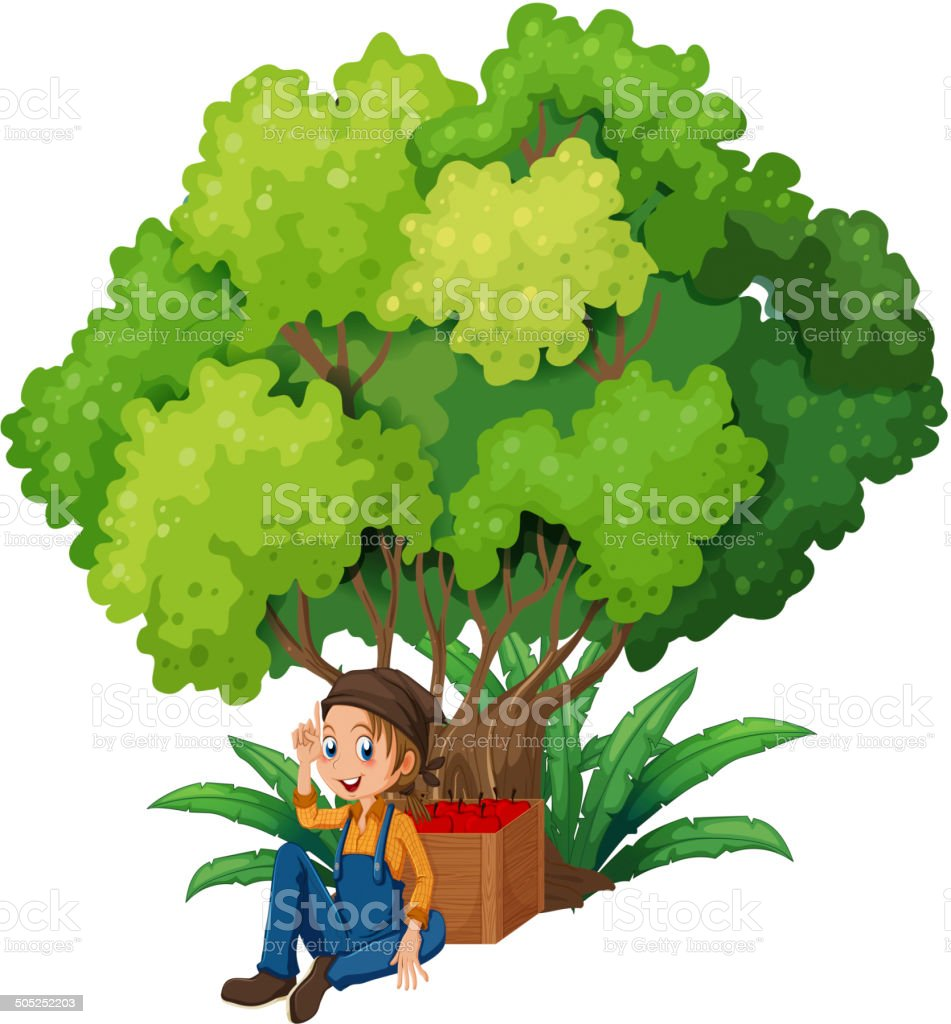 Young farmer under the tree royalty-free stock vector art