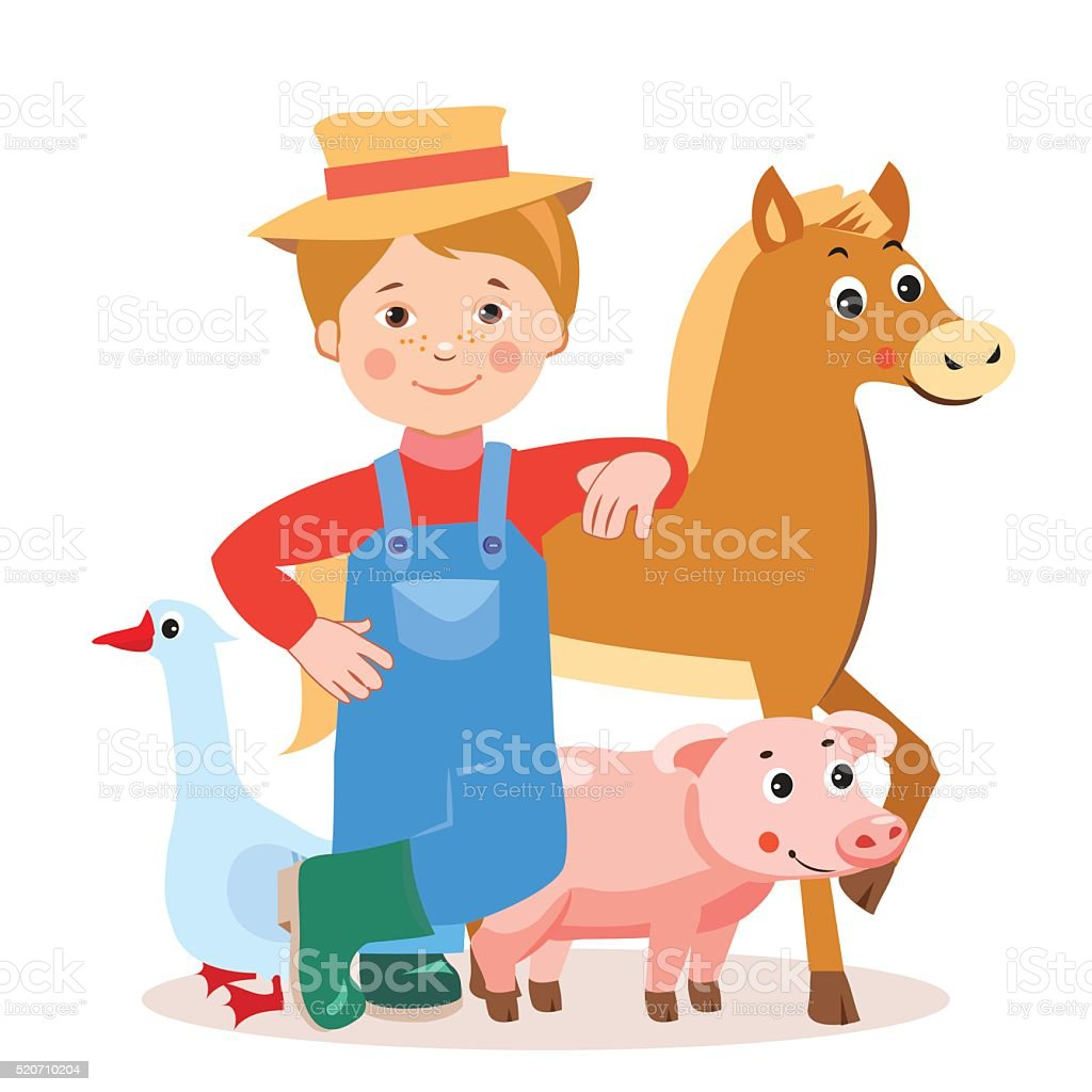 Horse, Pig, Goose. Cartoon Vector Illustration On A White Background....