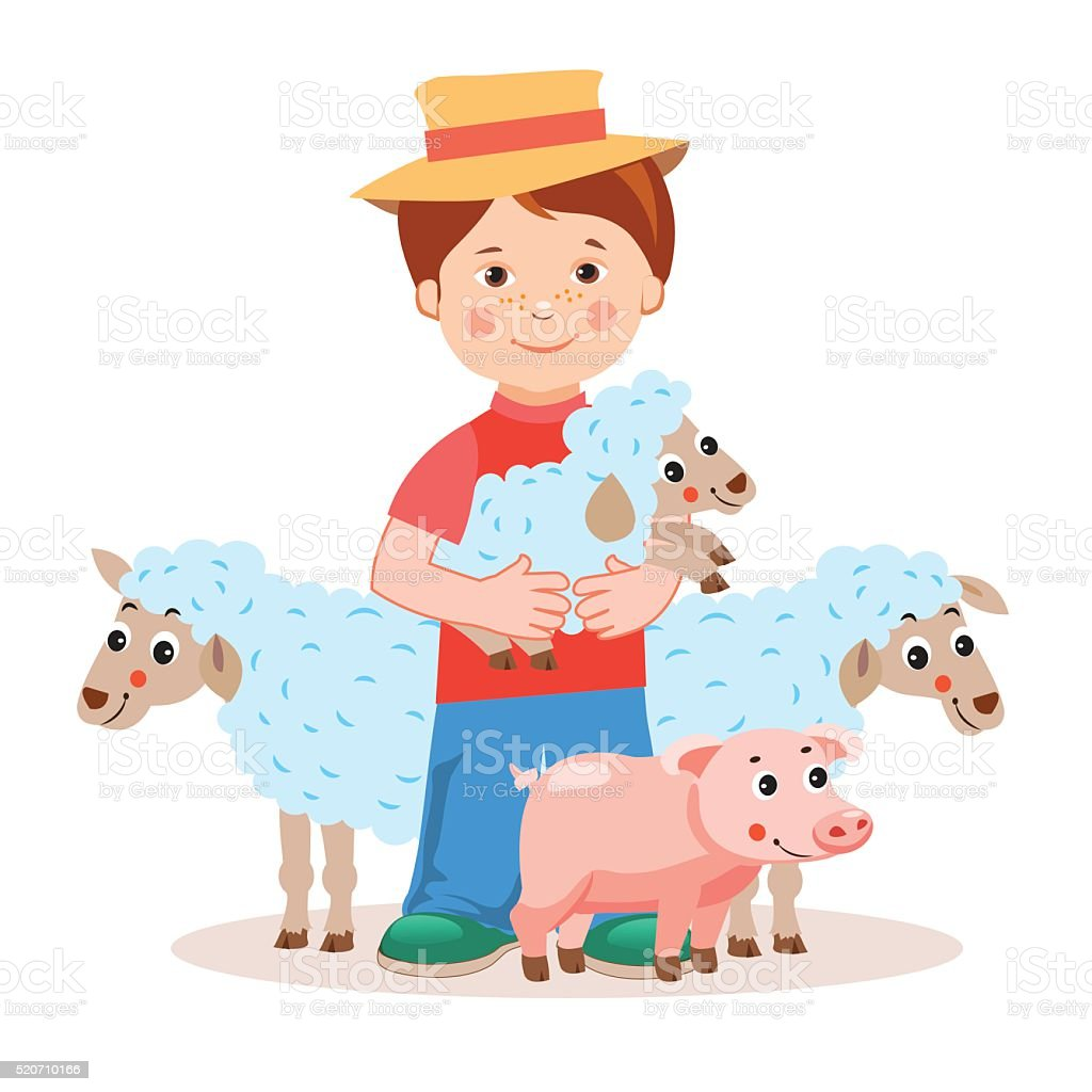 Young farmer with lamb in the hands and farm animals. vector art illustration