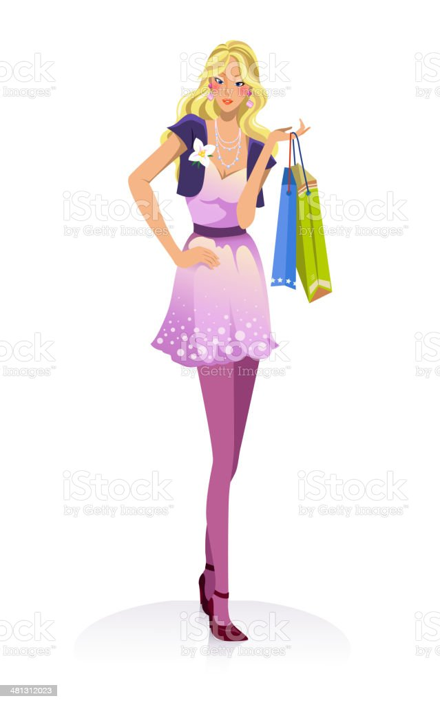 young fashion girl with shopping bags vector art illustration