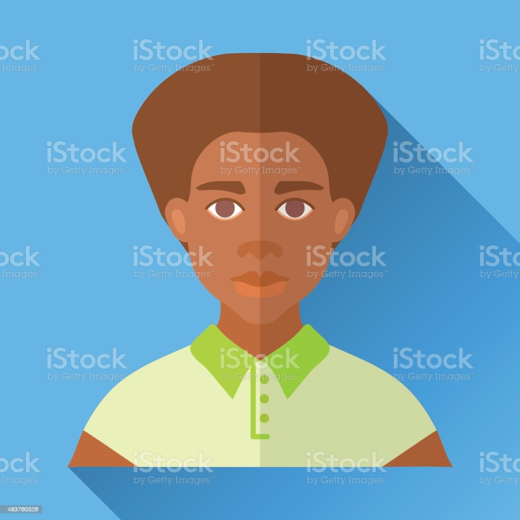 Young fashionable hipster african american man, square flat icon vector art illustration