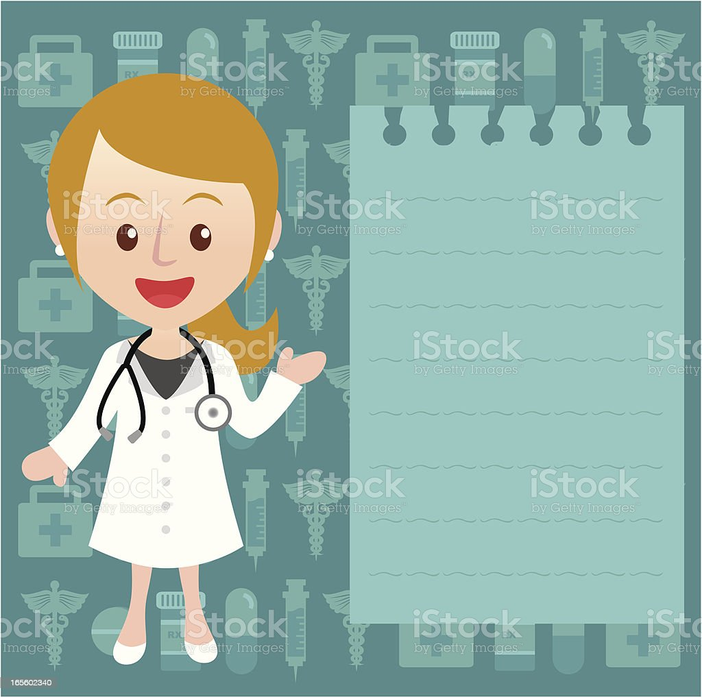 young female doctor with message paper royalty-free stock vector art