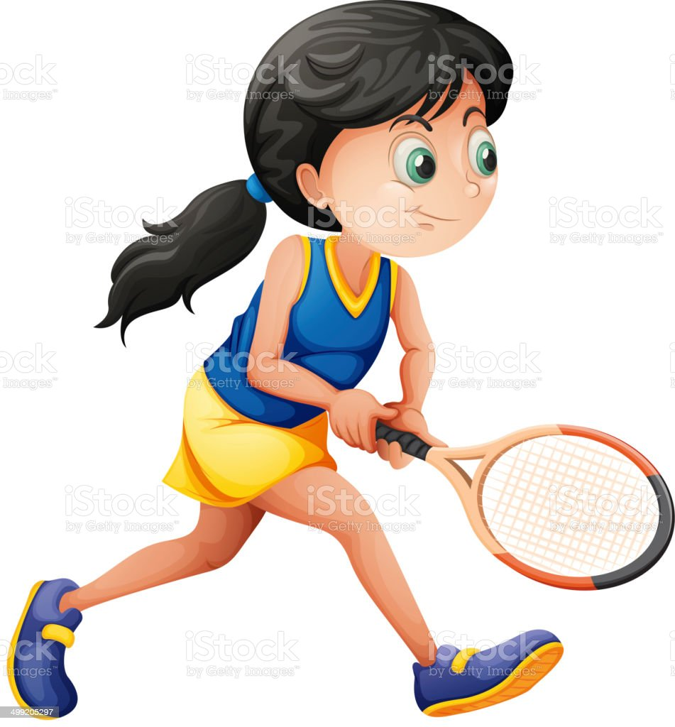 Young female player playing tennis vector art illustration