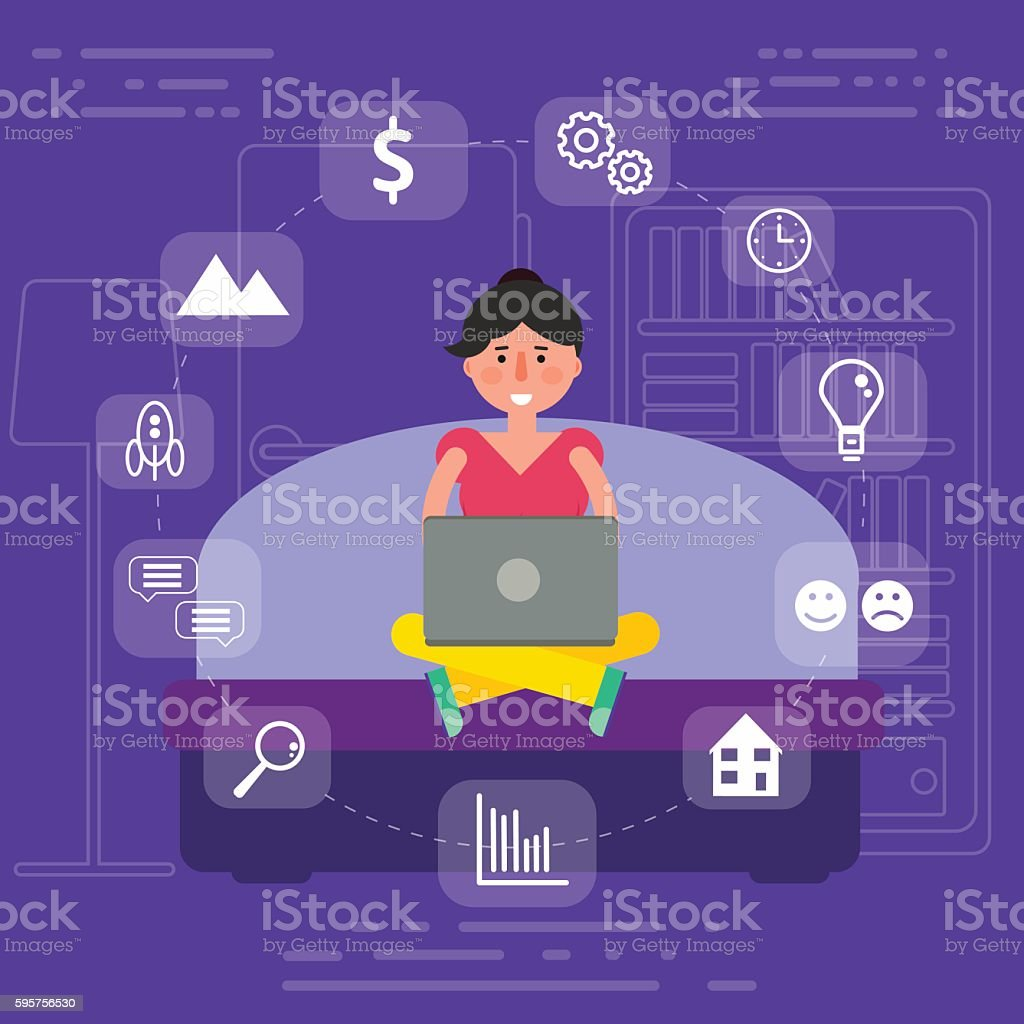 Young female sitting on sofa in room surfing internet vector art illustration