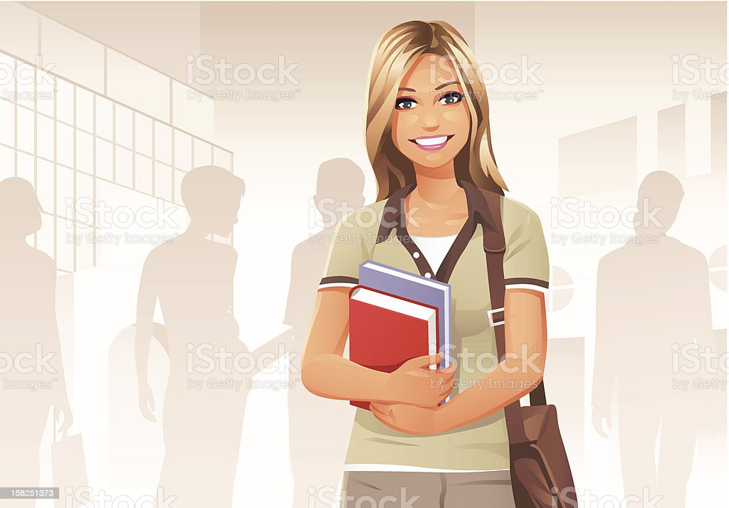 Young Female Student royalty-free stock vector art
