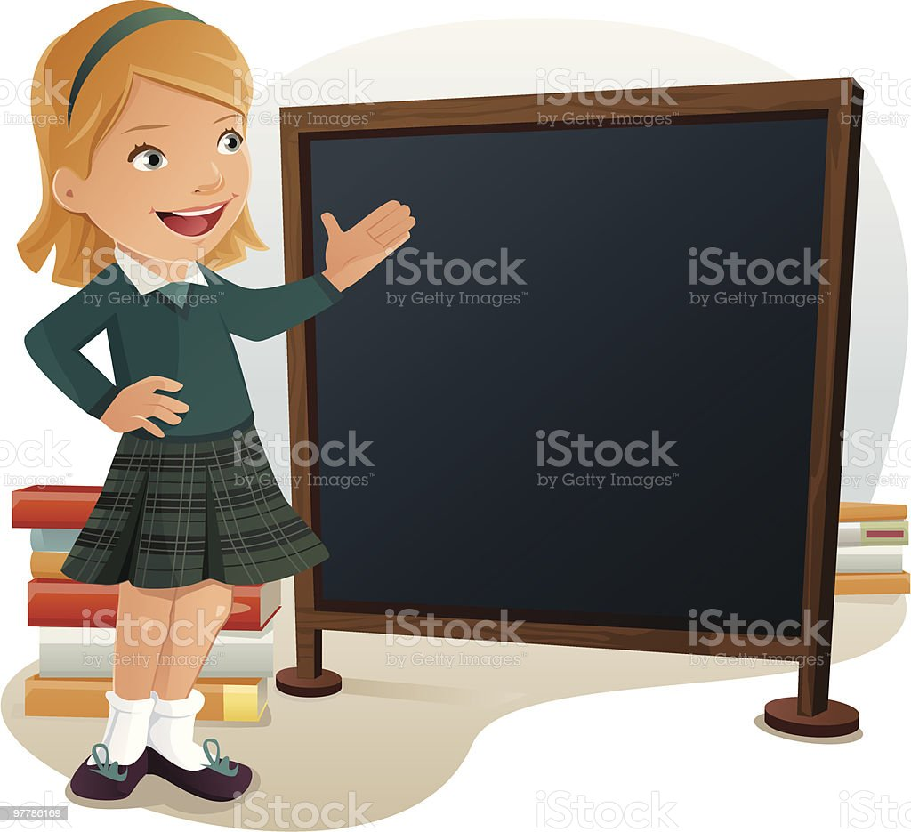 Young female student wearing school uniform pointing at blank chalkboard vector art illustration
