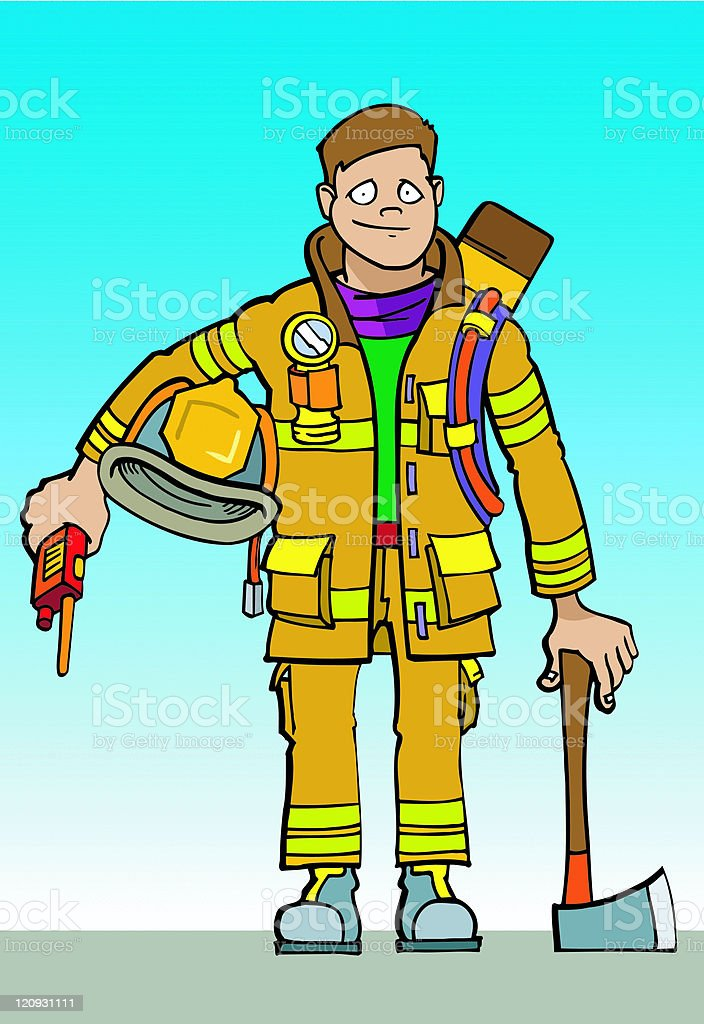 Young Fireman vector art illustration